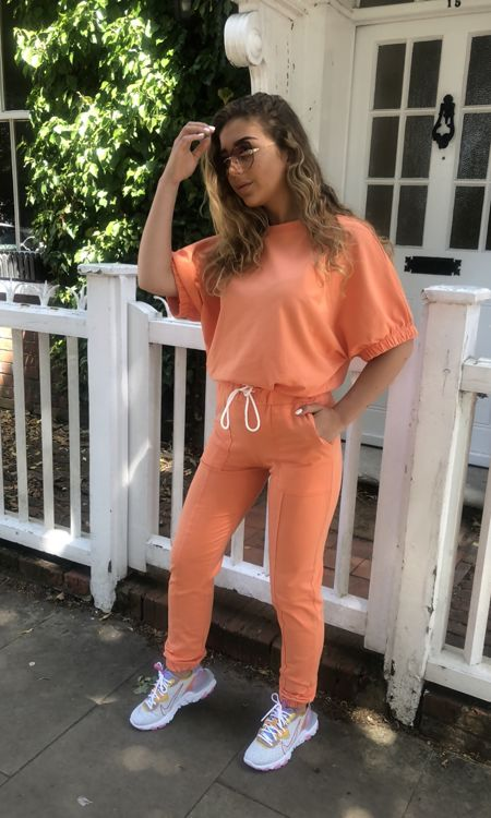 Orange Elasticated Sleeve Lounge Suit