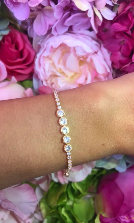 Gold Five Diamanté Bracelet