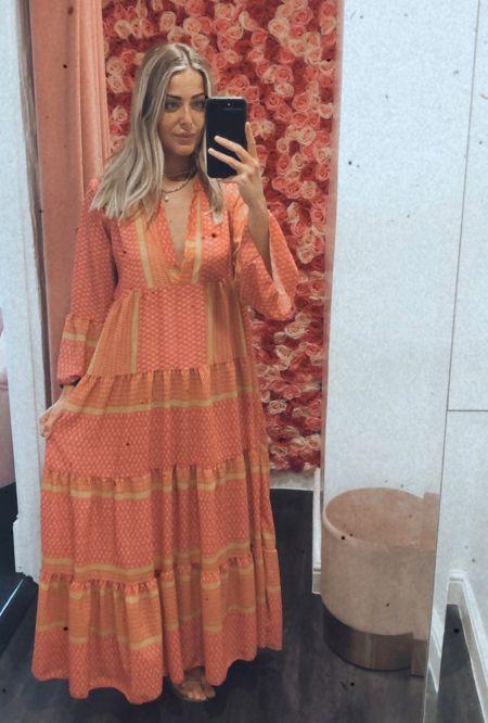 Pink Frill Sleeve Maxi Dress