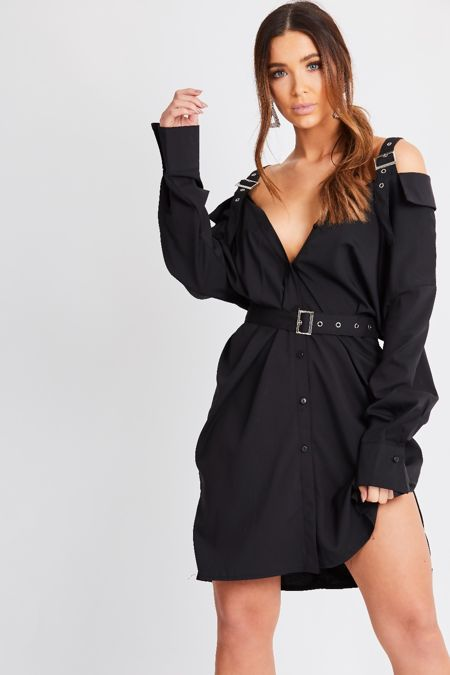 Black Belted Cold Shoulder Shirt Dress