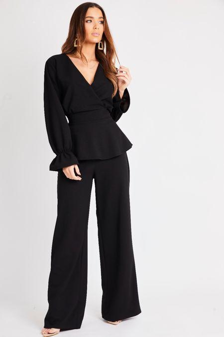 Black Peplum Wide Leg Suit