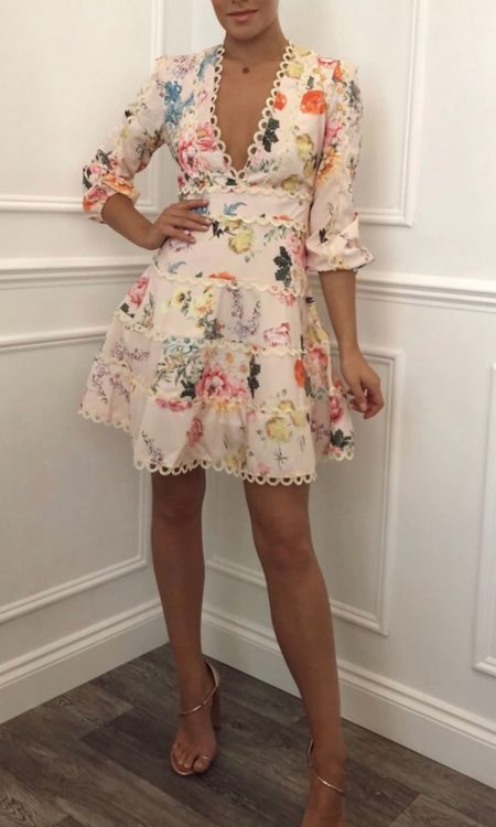 Pink Floral Crochet Dress