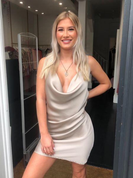 Gold Satin Cowl Neck Slip Dress