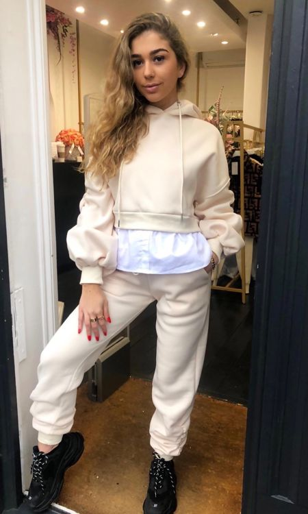 Cream Gathered Sleeve and cuff Tracksuit