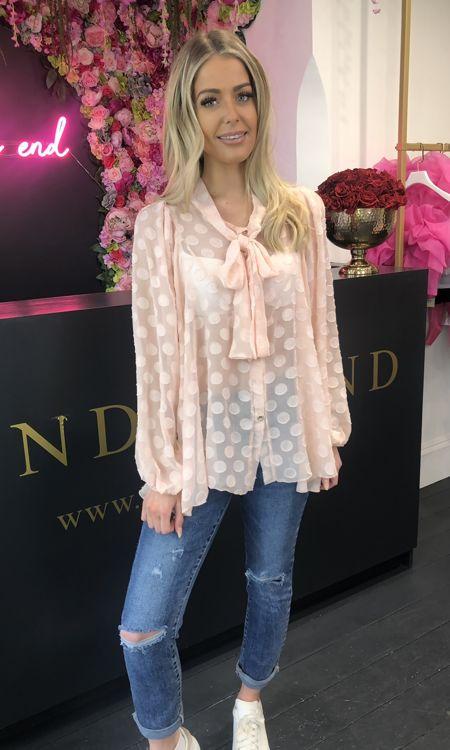 Pink Polkadot Pussybow Shirt