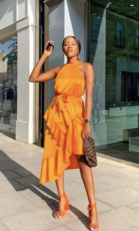 Orange Halter Neck Midi Dress