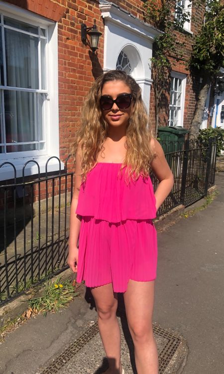 Pink Pleated Playsuit