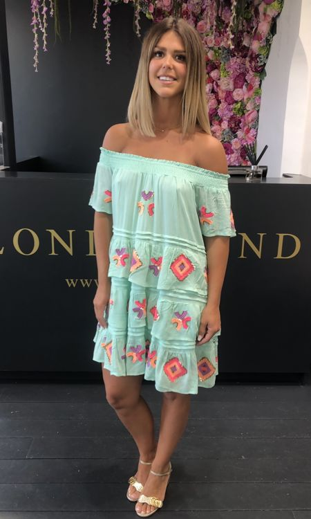 Mint Off The Shoulder Embroidered Dress