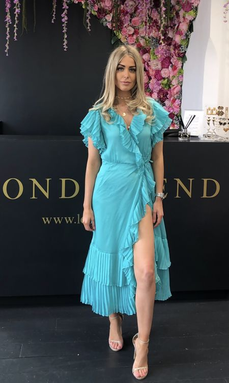 Turquoise Pleated Frill Midi Dress