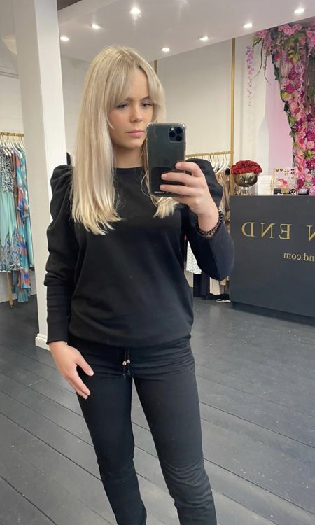 Black Puff Sleeve Tracksuit