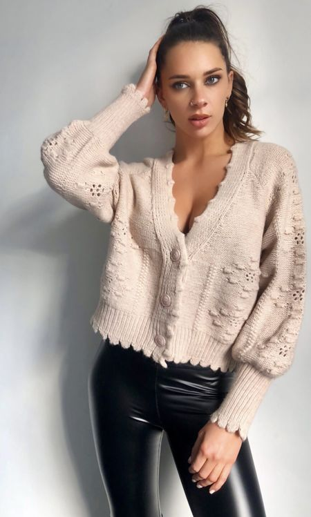 Beige Cabel Knit Cardigan