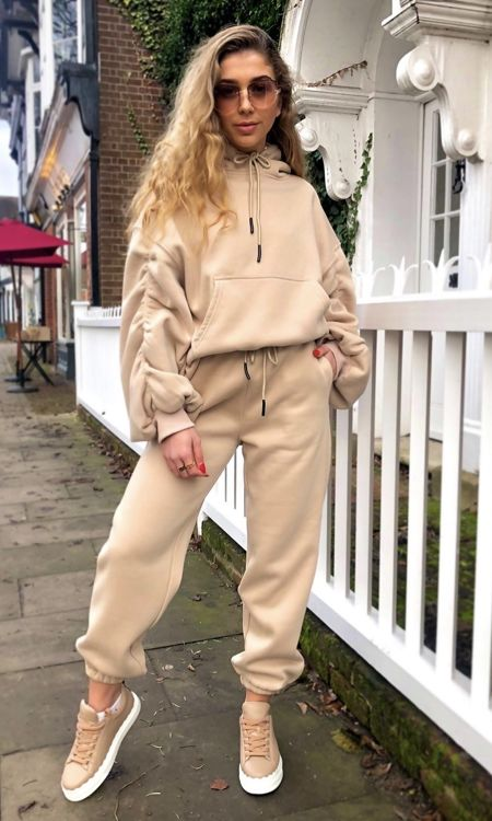 Beige Ruched Tracksuit