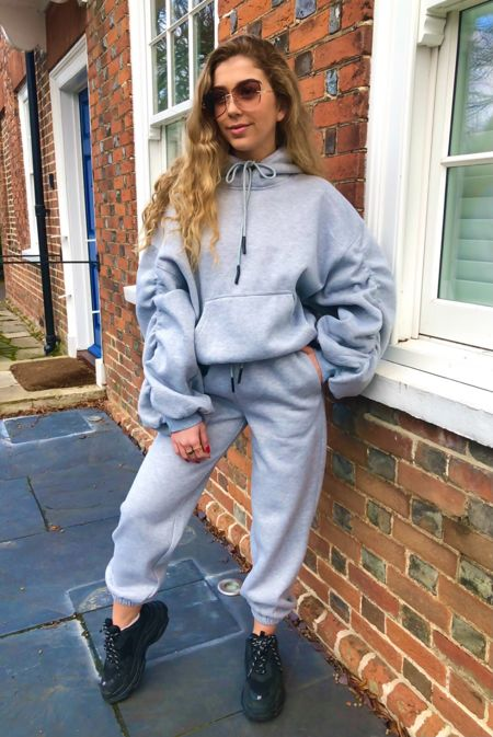 Grey Rouched Tracksuit