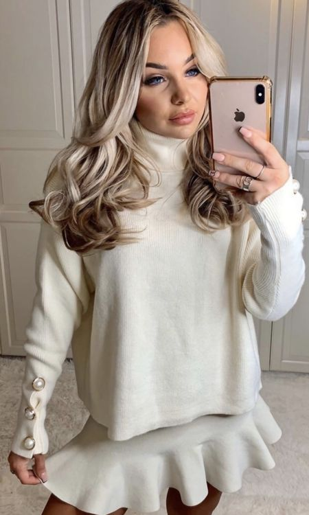 Cream Roll Neck Jumper&Skirt Set