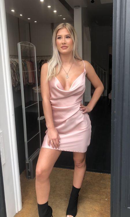 Pink Satin Cowl Neck Slip Dress