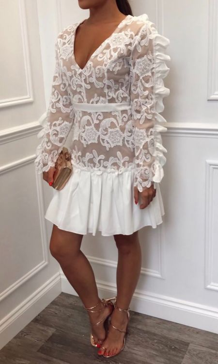 Cream and Nude Embroidered Dress