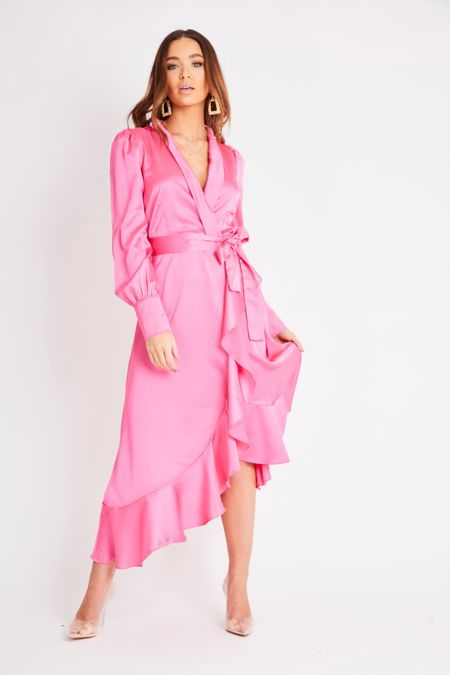 Hot Pink Midi Wrap Dress