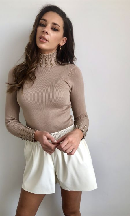 Cream High Neck Embellished Jumper