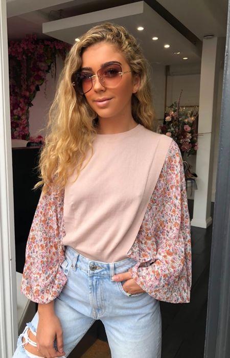 Pink Floral Sleeve Jumper
