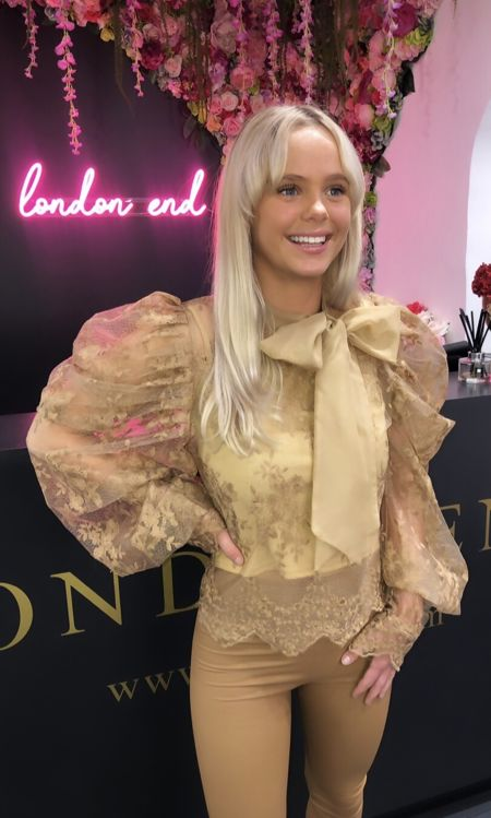 Camel Lace Pussybow Blouse