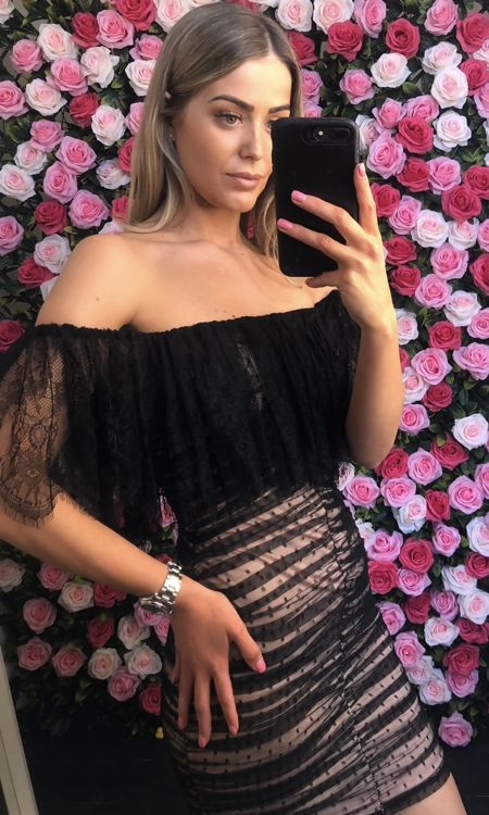 Black Lace Off The Shoulder Mini Dress