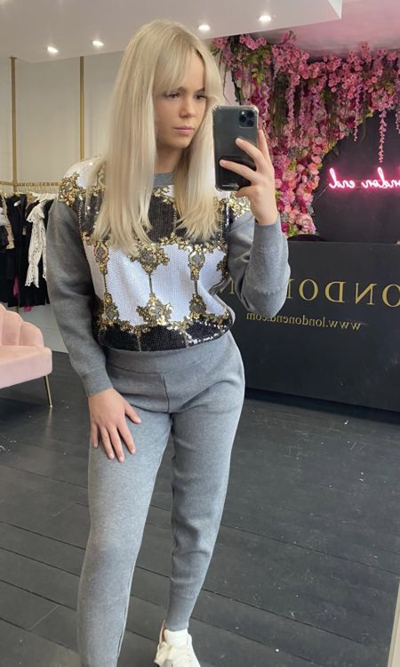 Grey Sequin Lounge Suit-Copy