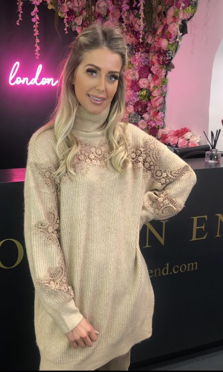 Camel Lace Sleeve Jumper Dress