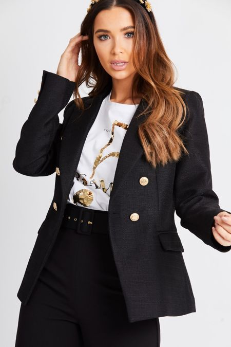 Black textured Double Breasted Blazer