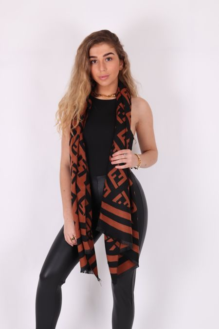 Black and Brown F Scarf