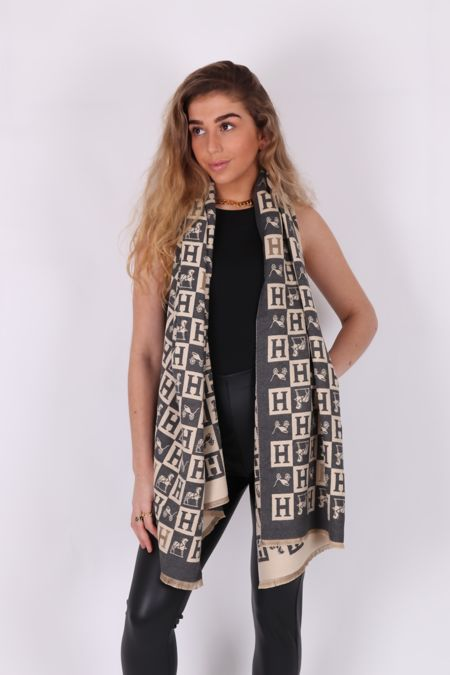 Cream and Grey H Reversible Scarf