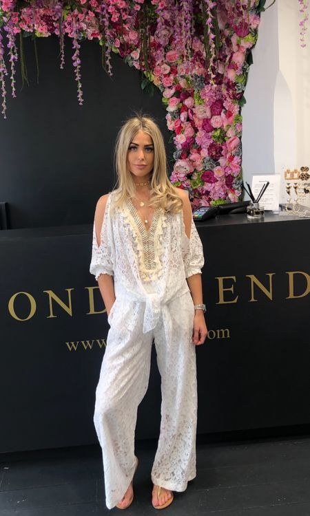 White Lace Wide Leg Trousers