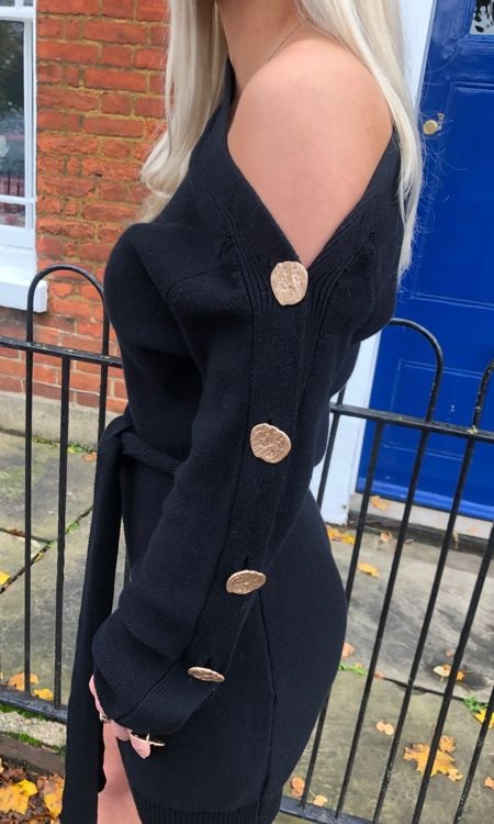Black Off The Shoulder Gold Button Jumper Dress