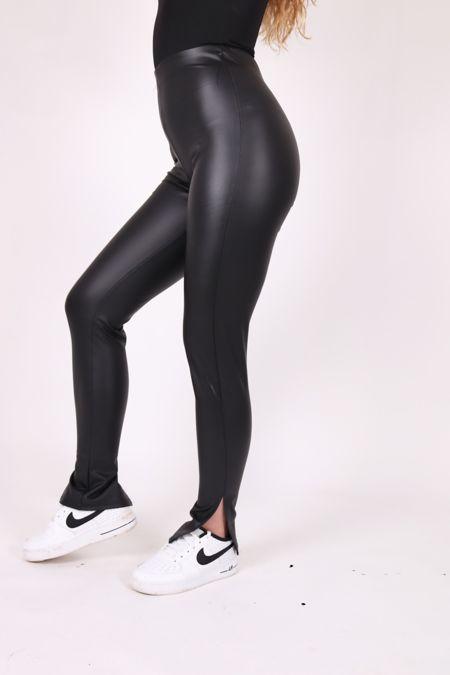Leather Look Split Leggings