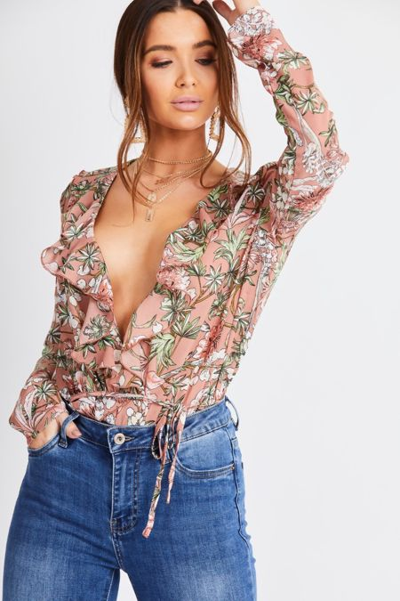 Salmon Floral Low Plunge Bodysuit