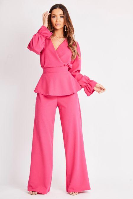 Bright Pink Peplum Wide Leg  Trouser Suit