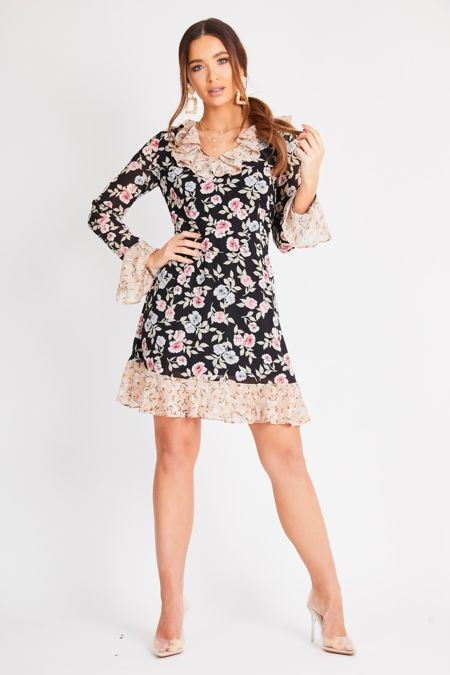 Black Floral Mixed Print Long Sleeve Dress
