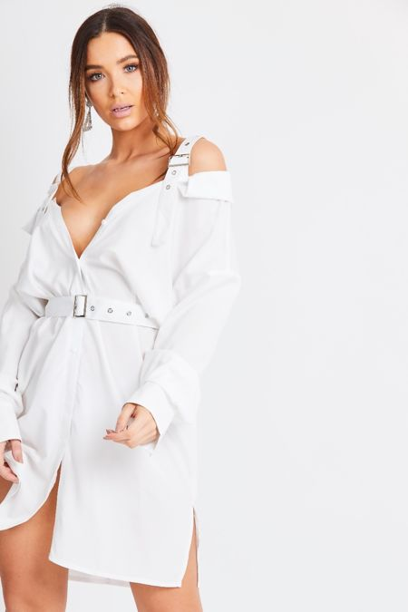 White Belted Cold Shoulder Shirt Dress