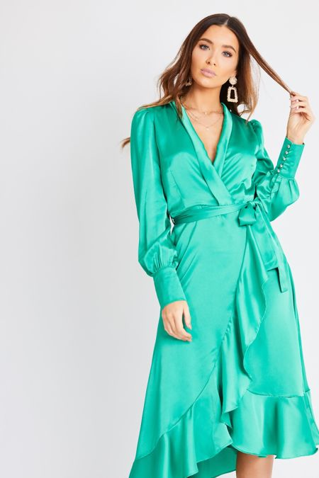 Emerald Green Midi Wrap Dress