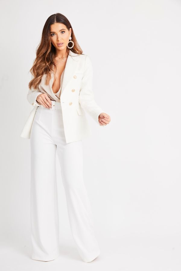 White Textured double Breasted Blazer